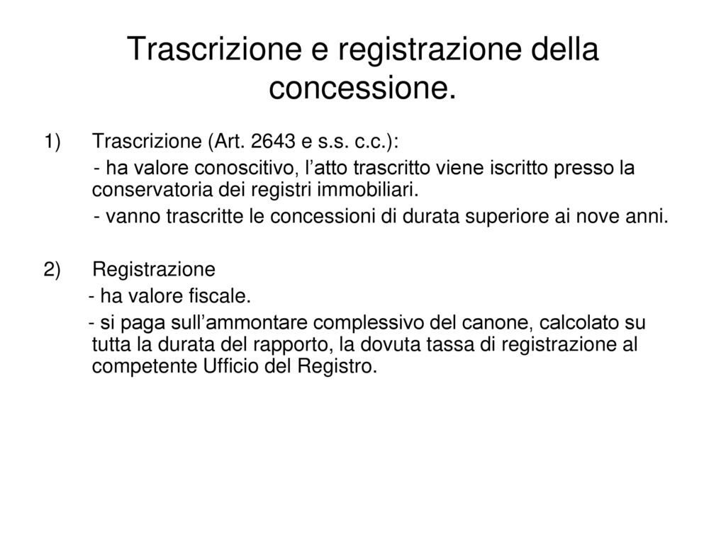 Concessione locazione e comodato dei beni immobili - Trascrizione sentenza conservatoria registri immobiliari ...