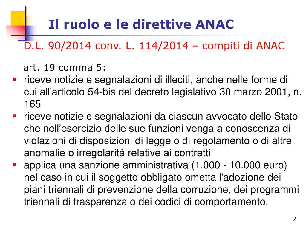 Il ruolo e le direttive anac ppt scaricare for Piani di aggiunta di suite in legge