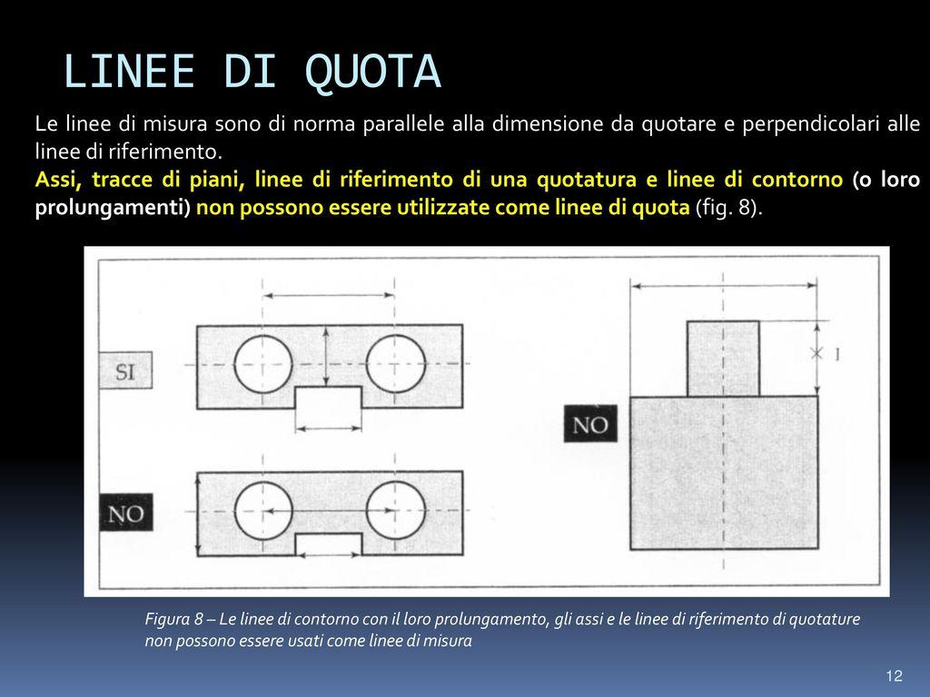 LINEE DI QUOTA Le linee di misura sono di norma parallele alla dimensione da quotare e perpendicolari alle linee di riferimento.