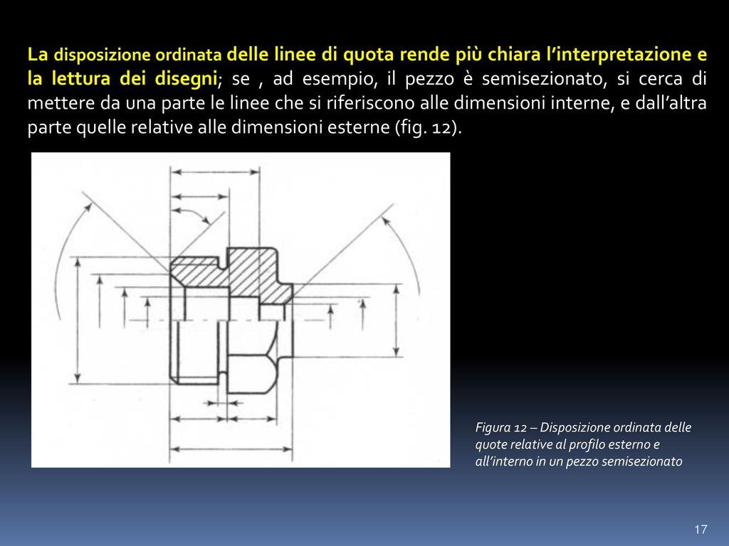 La disposizione ordinata delle linee di quota rende più chiara l'interpretazione e la lettura dei disegni; se , ad esempio, il pezzo è semisezionato, si cerca di mettere da una parte le linee che si riferiscono alle dimensioni interne, e dall'altra parte quelle relative alle dimensioni esterne (fig. 12).