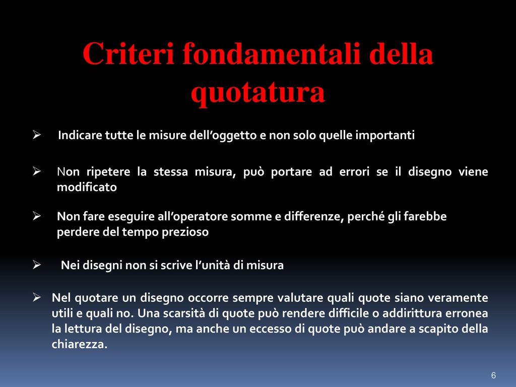 Criteri fondamentali della quotatura