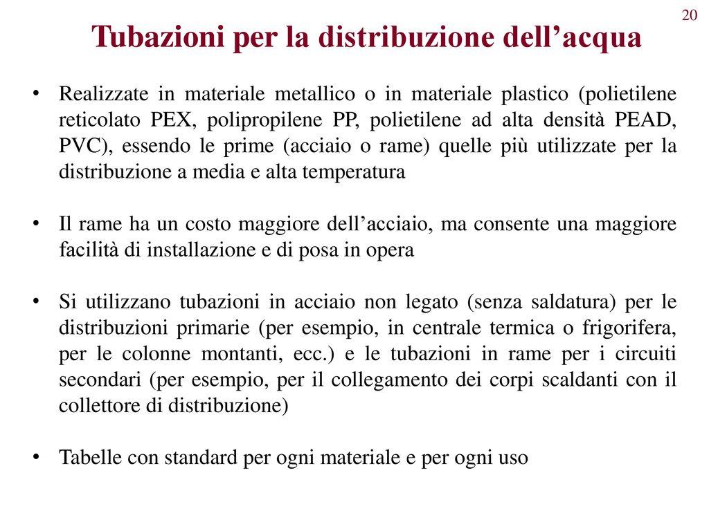 Elementi costitutivi degli impianti di climatizzazione for Linee d acqua pex vs rame