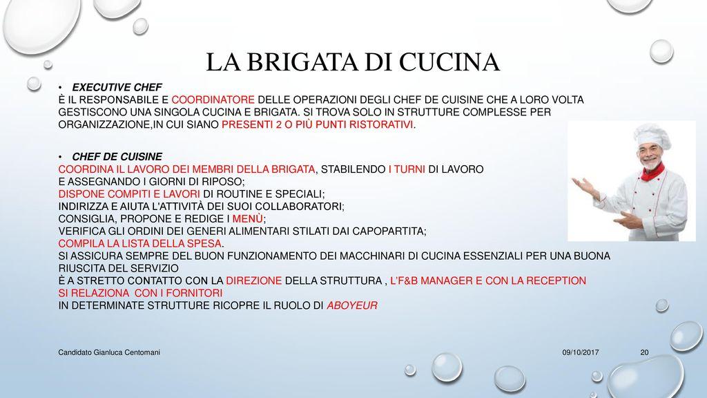 Il food and beverage manager a scuola ppt video online scaricare - Brigata di cucina ...