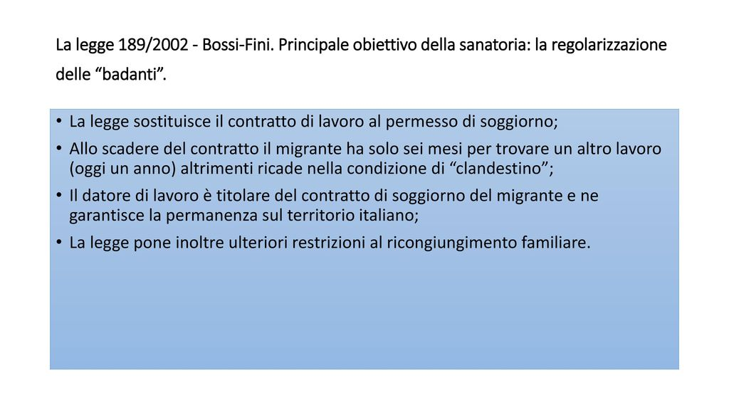 L italia nel panorama europeo delle migrazioni 1 ppt for Legge permesso di soggiorno