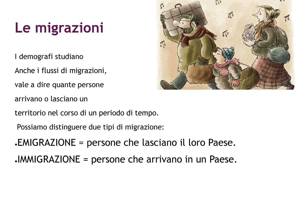 Le migrazioni EMIGRAZIONE = persone che lasciano il loro Paese.