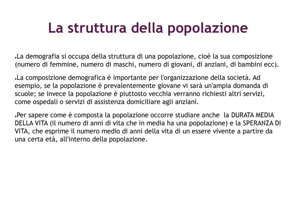 La struttura della popolazione