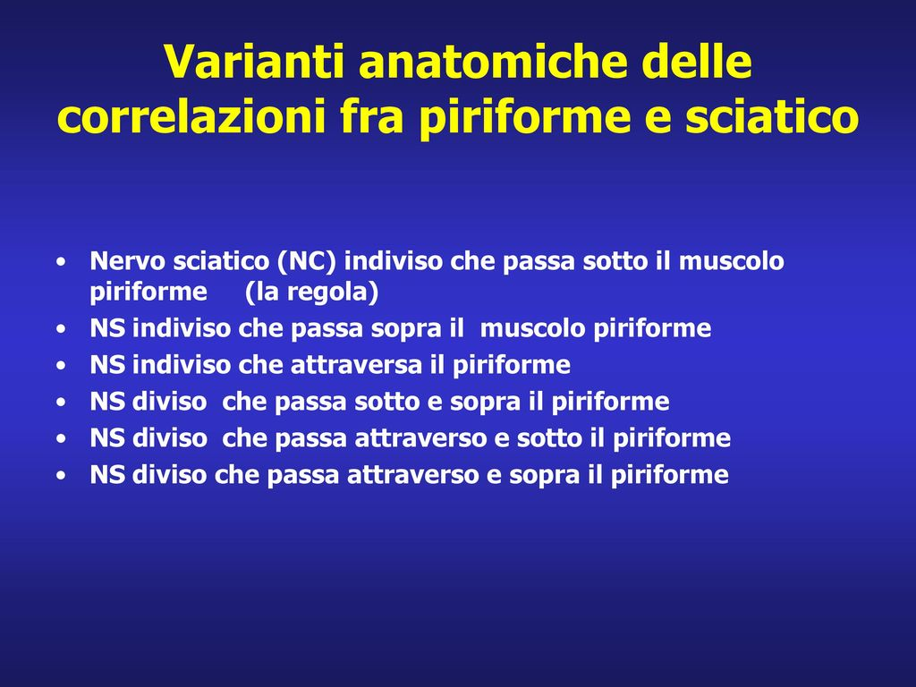Varianti anatomiche delle correlazioni fra piriforme e sciatico
