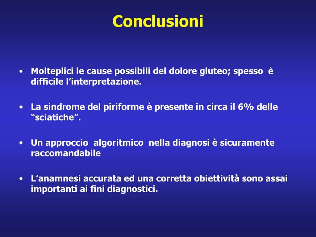 Conclusioni Molteplici le cause possibili del dolore gluteo; spesso è difficile l'interpretazione.