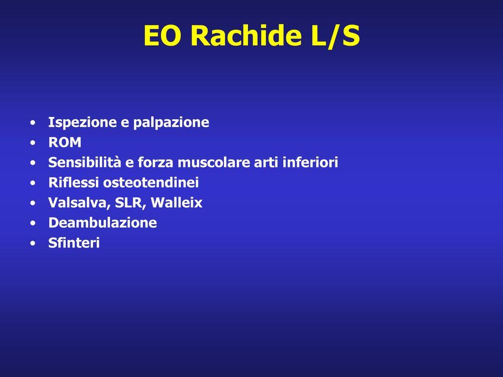 EO Rachide L/S Ispezione e palpazione ROM