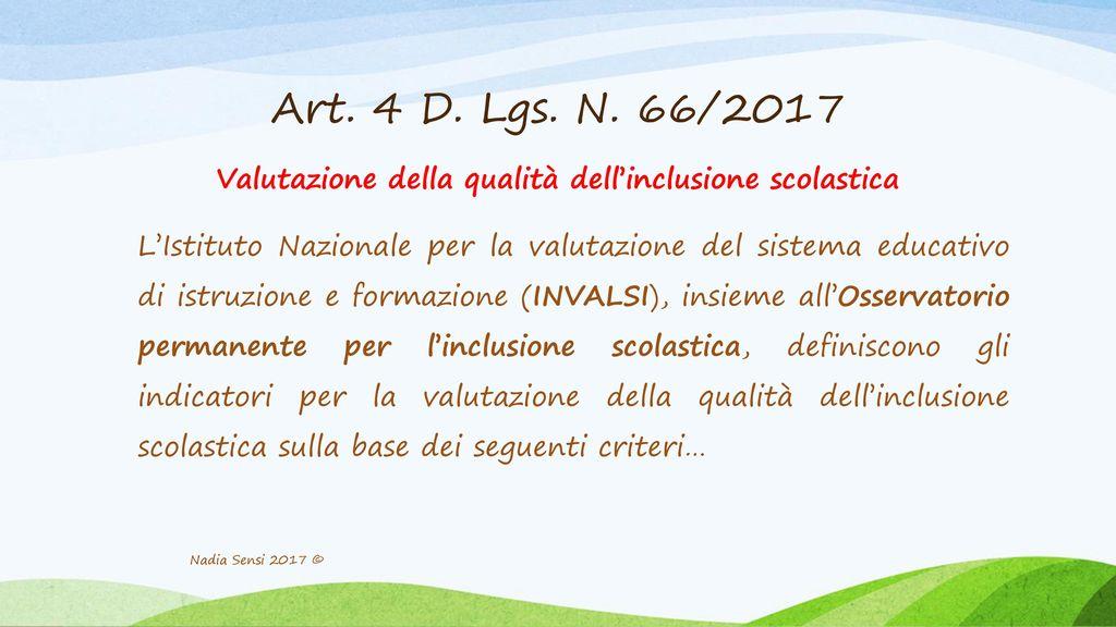 Art. 4 D. Lgs. N. 66/2017