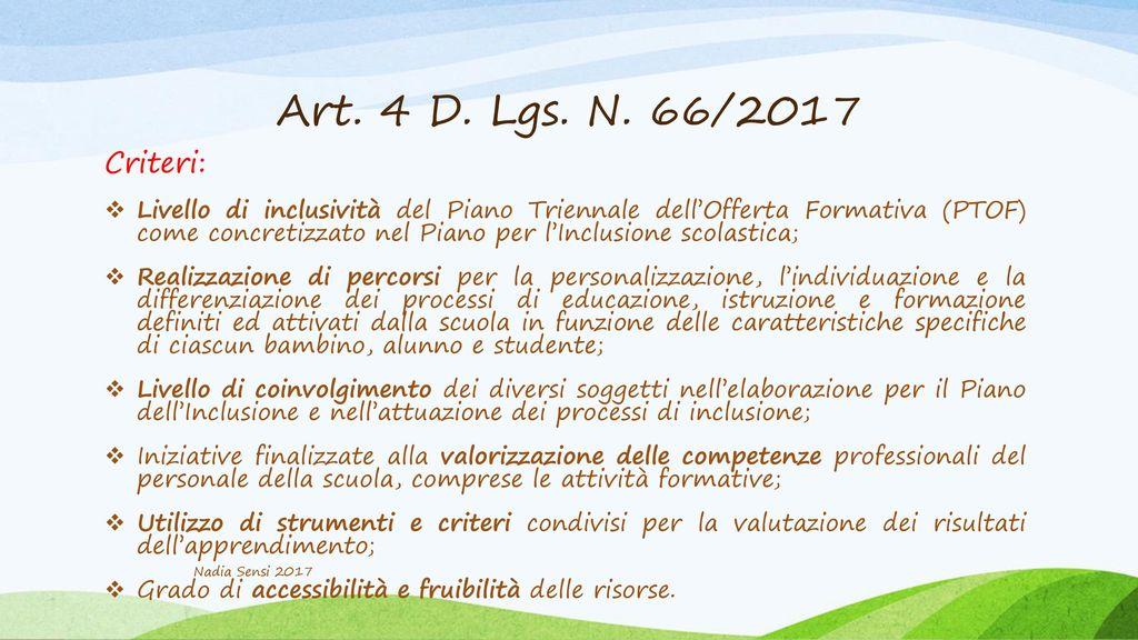 Art. 4 D. Lgs. N. 66/2017 Criteri: