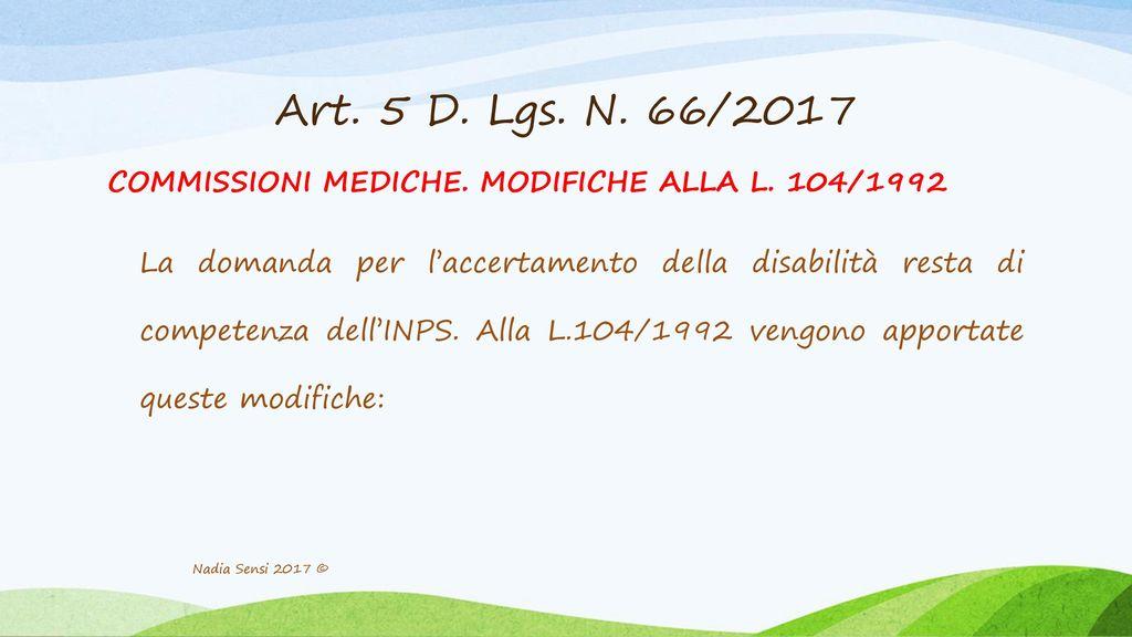 Art. 5 D. Lgs. N. 66/2017