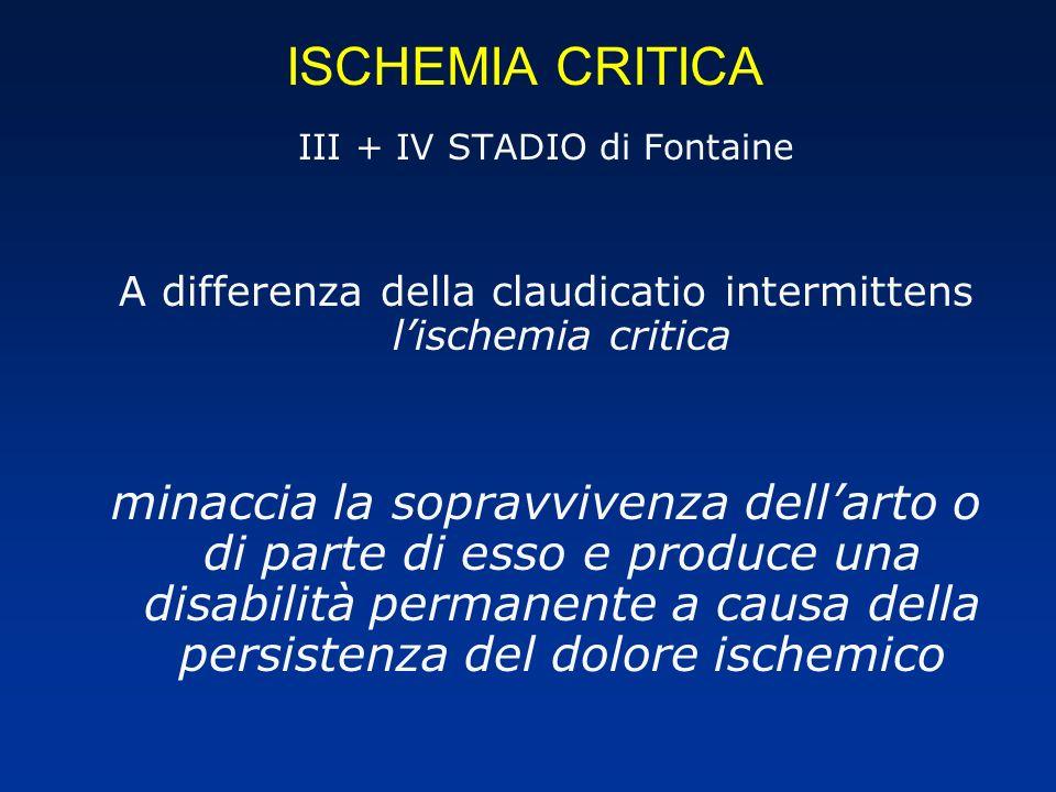 ISCHEMIA CRITICA III + IV STADIO di Fontaine. A differenza della claudicatio intermittens l'ischemia critica.