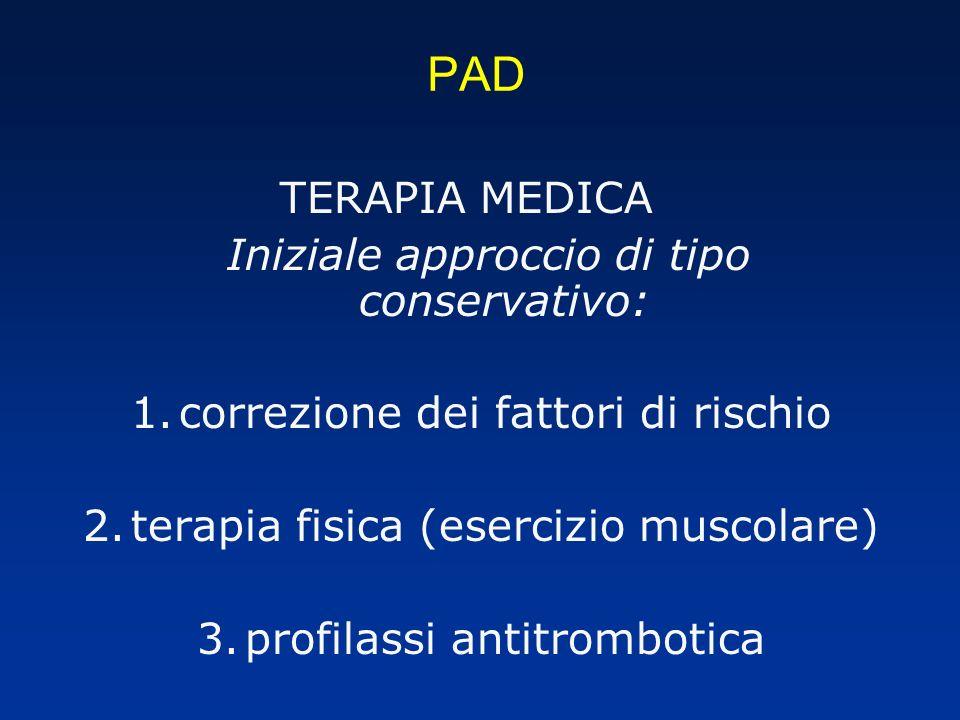 PAD TERAPIA MEDICA Iniziale approccio di tipo conservativo:
