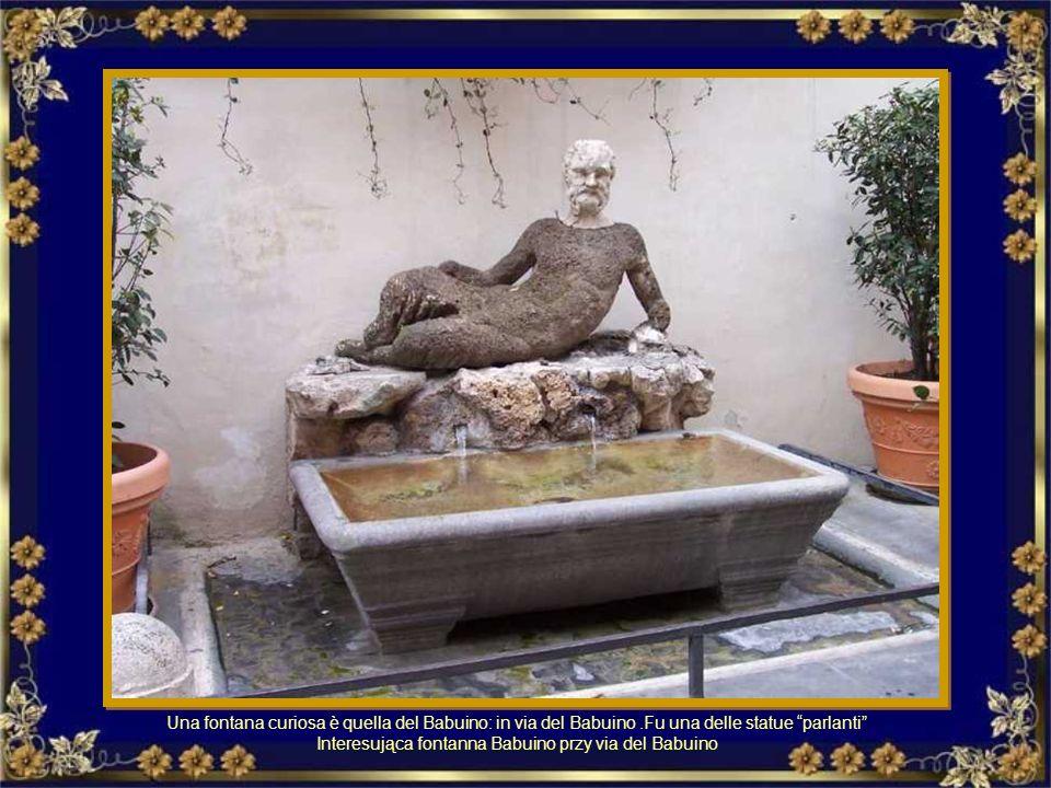 Interesująca fontanna Babuino przy via del Babuino