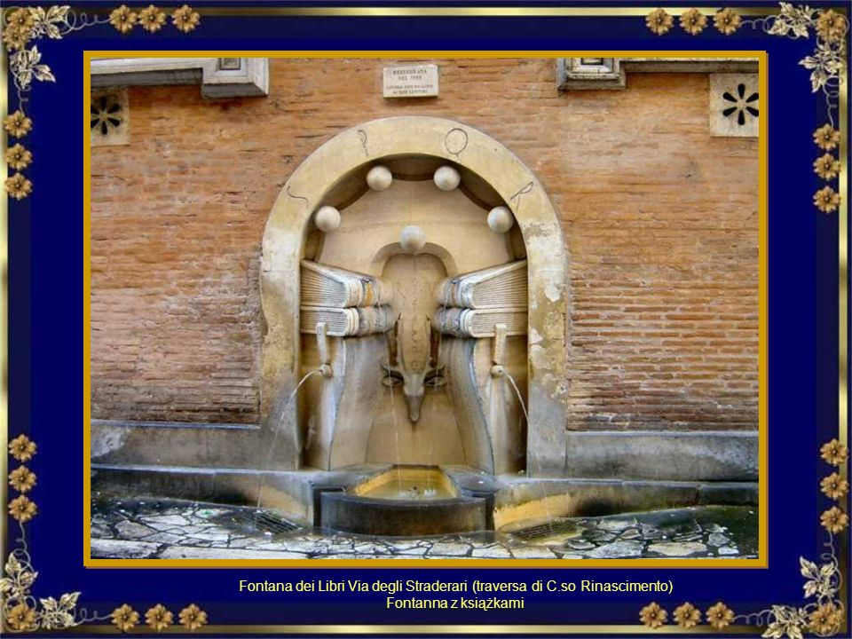 Fontana dei Libri Via degli Straderari (traversa di C
