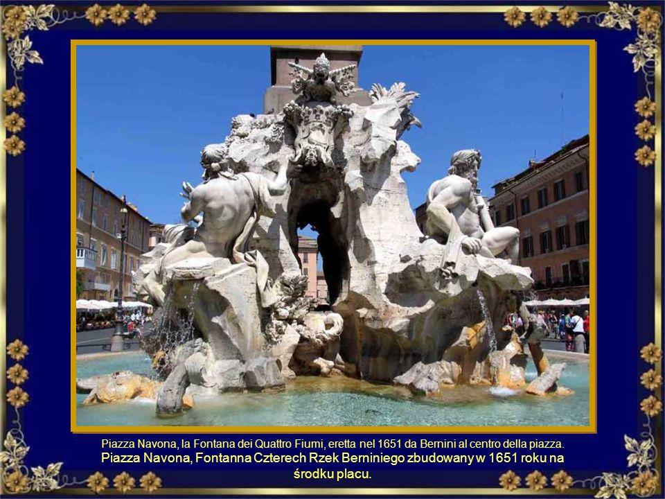 Piazza Navona, la Fontana dei Quattro Fiumi, eretta nel 1651 da Bernini al centro della piazza.