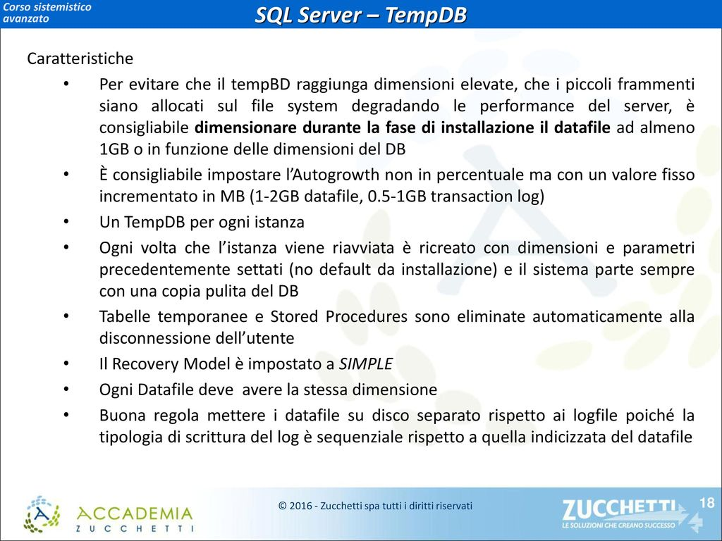 Corso sistemistico avanzato database server lodi for Una dimensione del garage per auto