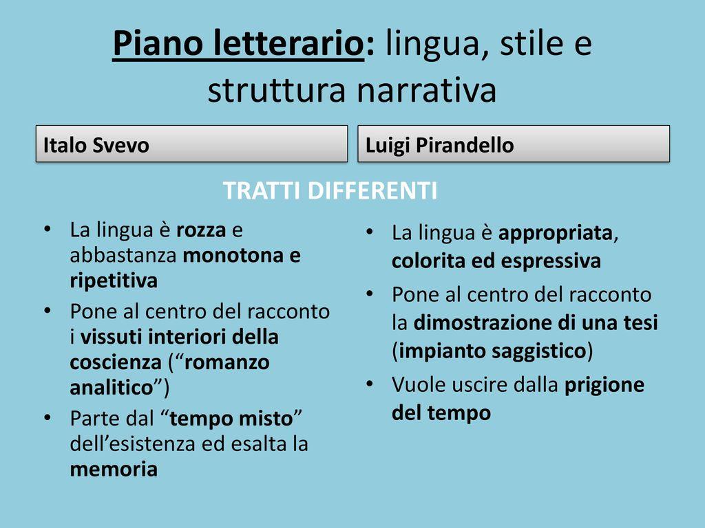 Piano letterario: lingua, stile e struttura narrativa