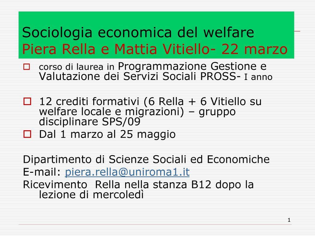 Sociologia economica del welfare piera rella e mattia for Programmazione e gestione dei servizi educativi