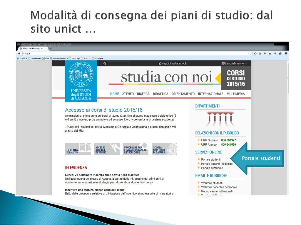 Piani di studio online istruzioni per la compilazione for Piani del sito online