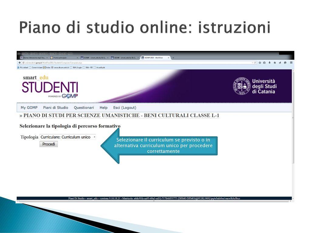 Piani di studio online istruzioni per la compilazione for Idee di piano di studio