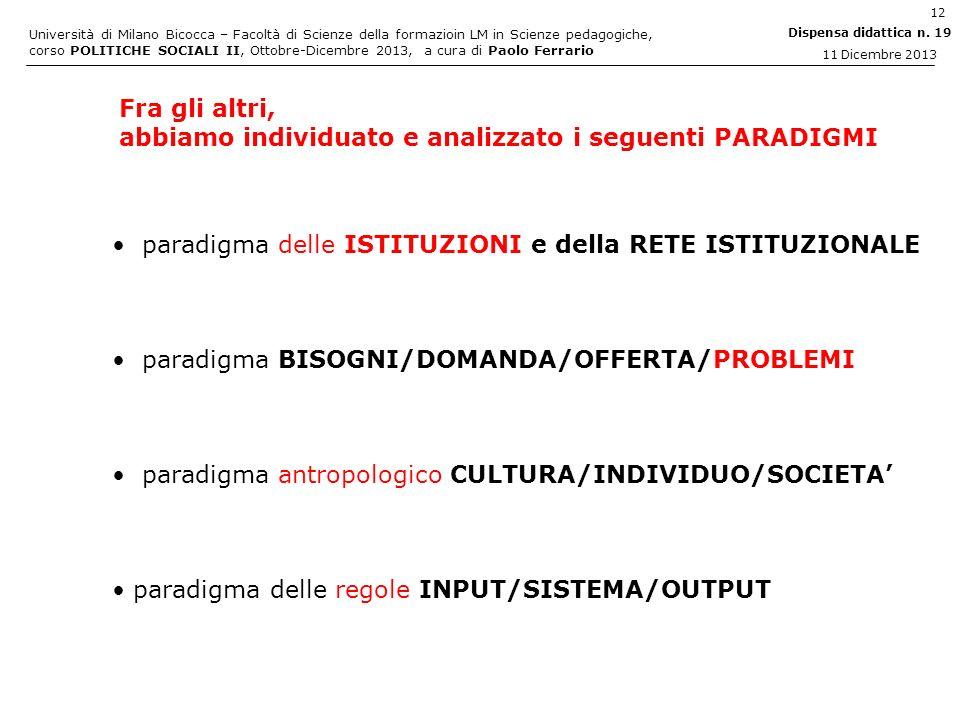 Fra gli altri, abbiamo individuato e analizzato i seguenti PARADIGMI. paradigma delle ISTITUZIONI e della RETE ISTITUZIONALE.