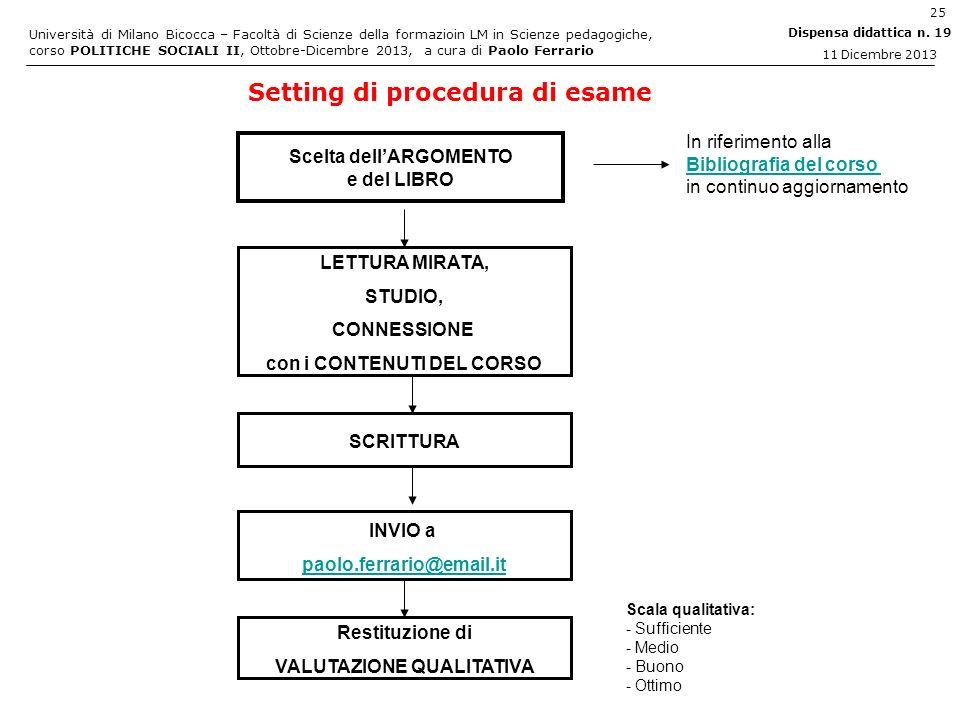 Setting di procedura di esame