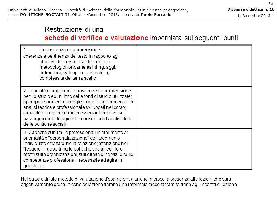 scheda di verifica e valutazione imperniata sui seguenti punti