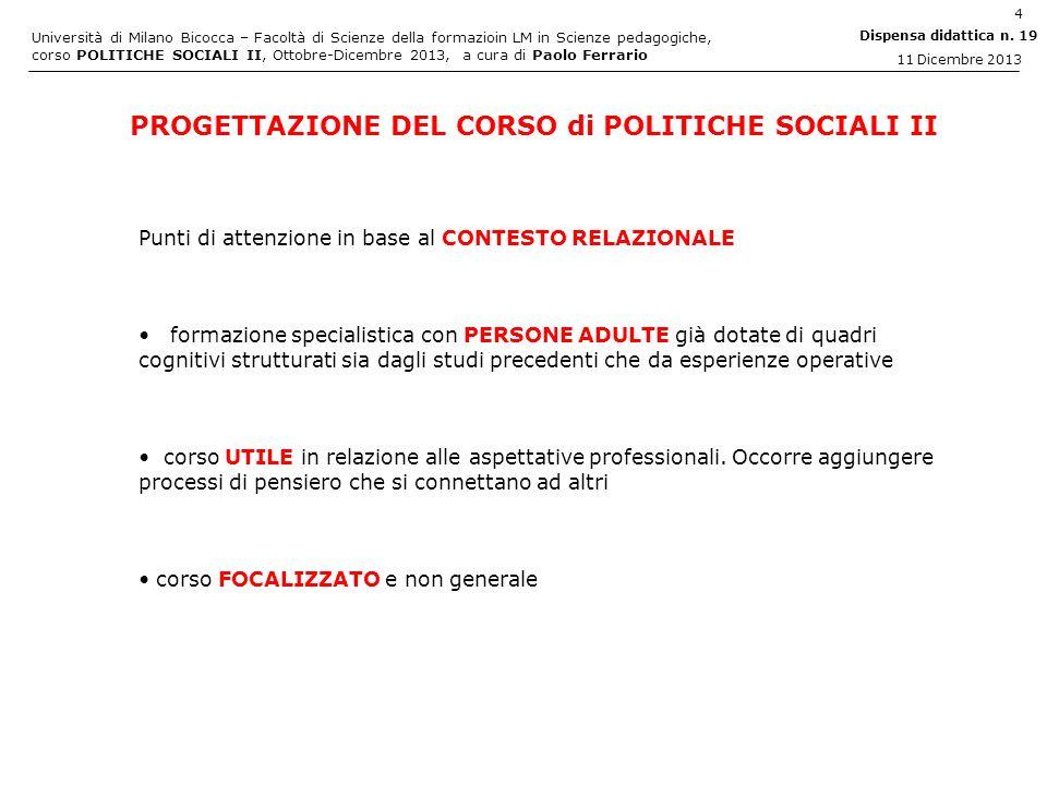 PROGETTAZIONE DEL CORSO di POLITICHE SOCIALI II