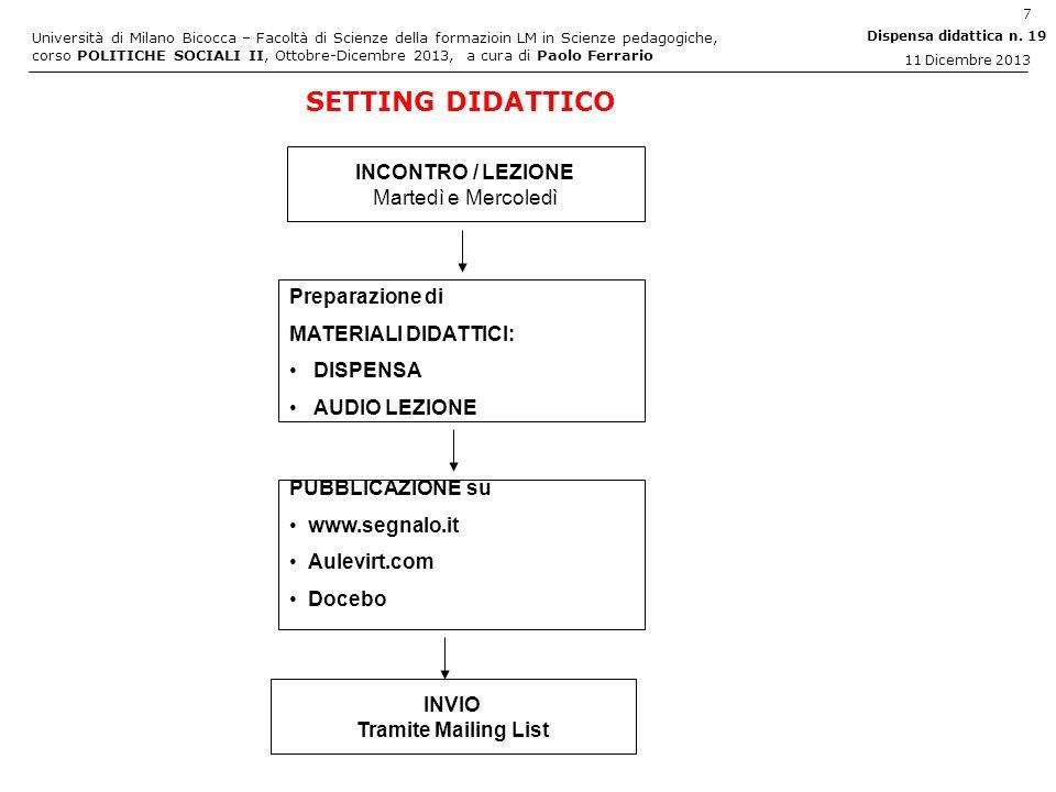 SETTING DIDATTICO INCONTRO / LEZIONE Martedì e Mercoledì