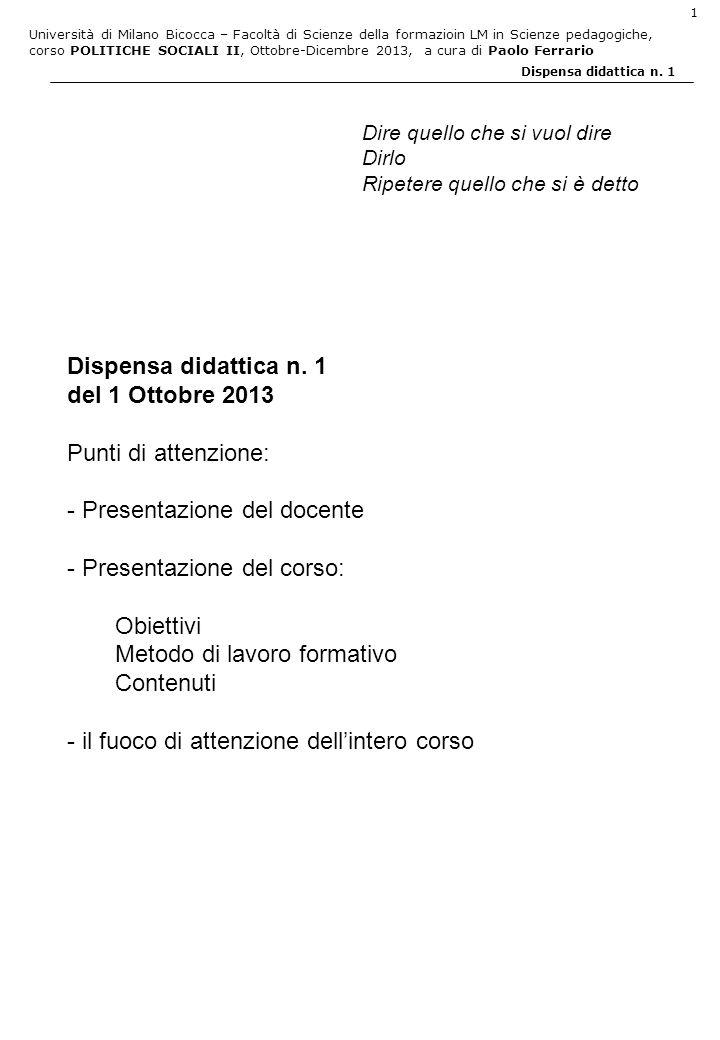 - Presentazione del docente - Presentazione del corso: Obiettivi