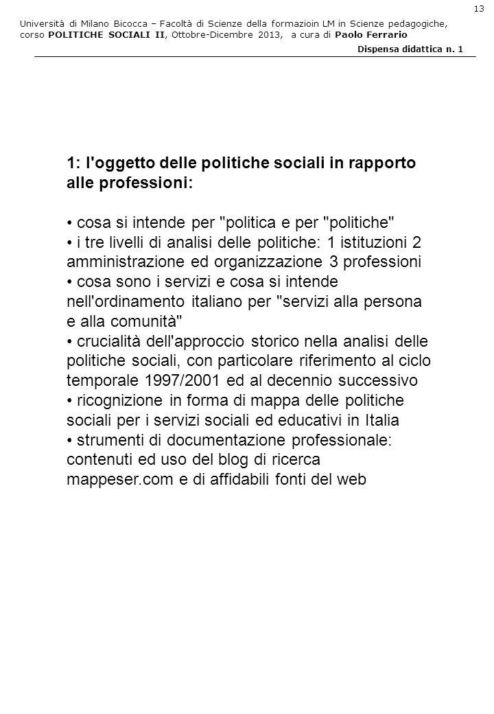1: l oggetto delle politiche sociali in rapporto alle professioni:
