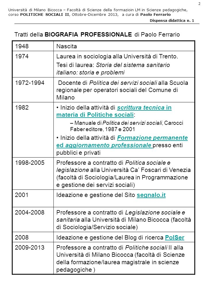 Tratti della BIOGRAFIA PROFESSIONALE di Paolo Ferrario 1948 Nascita