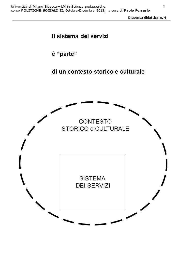 Il sistema dei servizi è parte di un contesto storico e culturale. CONTESTO. STORICO e CULTURALE.