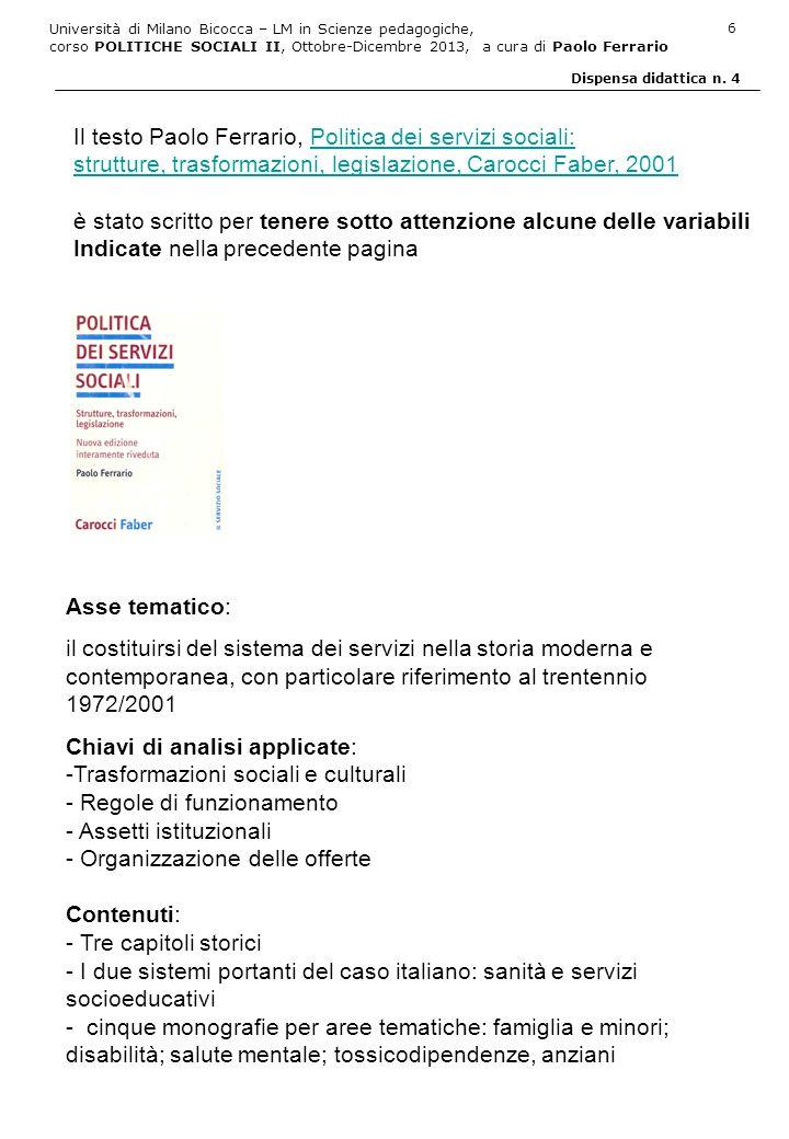 Il testo Paolo Ferrario, Politica dei servizi sociali: