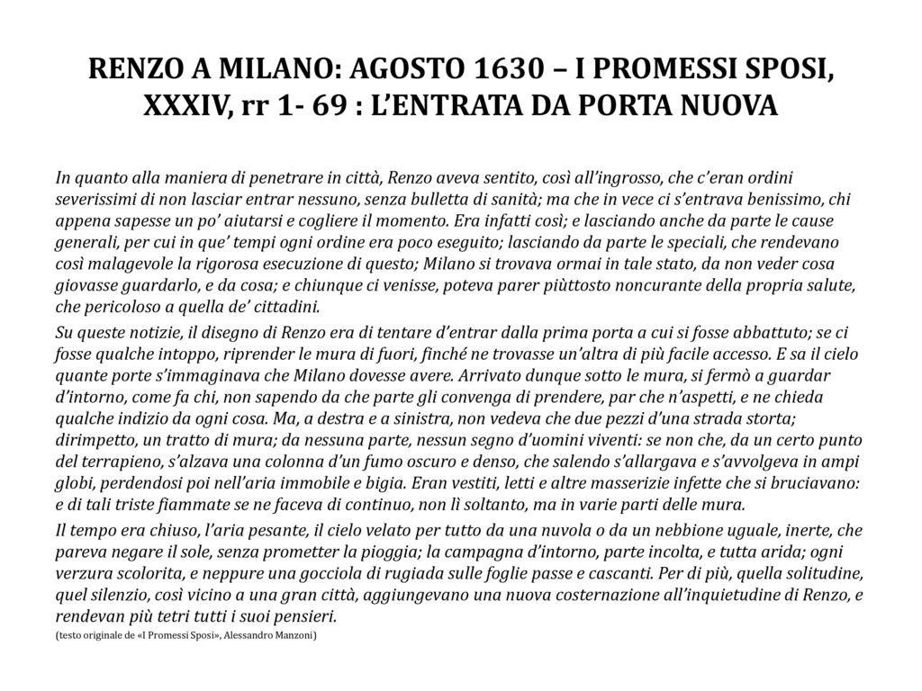 Renzo a milano agosto 1630 i promessi sposi xxxiv rr - Gemelli diversi prima o poi testo ...