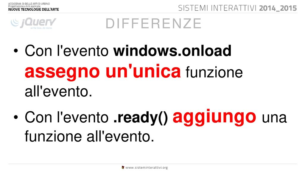 Lezione ppt scaricare for Window onload