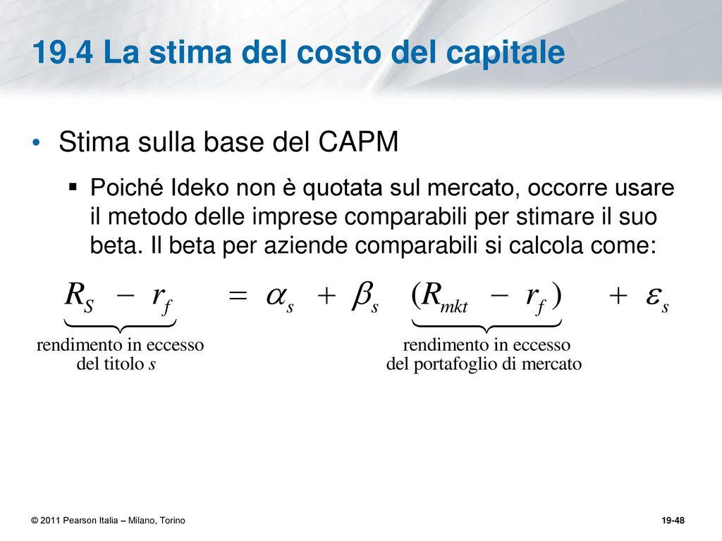 Valutazione e modelli finanziari un caso di studio ppt for Stima del costo portico