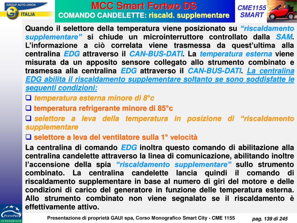 MCC Smart Fortwo DS COMANDO CANDELETTE: riscald. supplementare