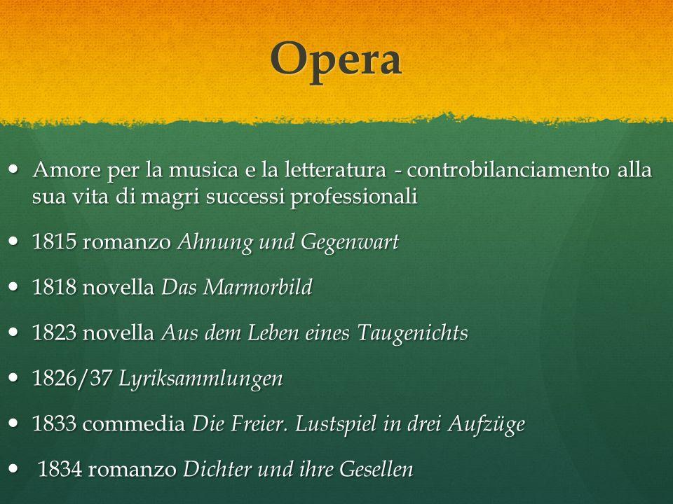 Opera Amore per la musica e la letteratura - controbilanciamento alla sua vita di magri successi professionali.