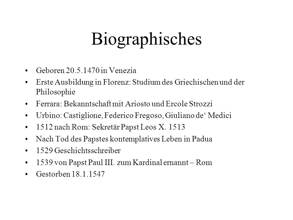 Biographisches Geboren 20.5.1470 in Venezia