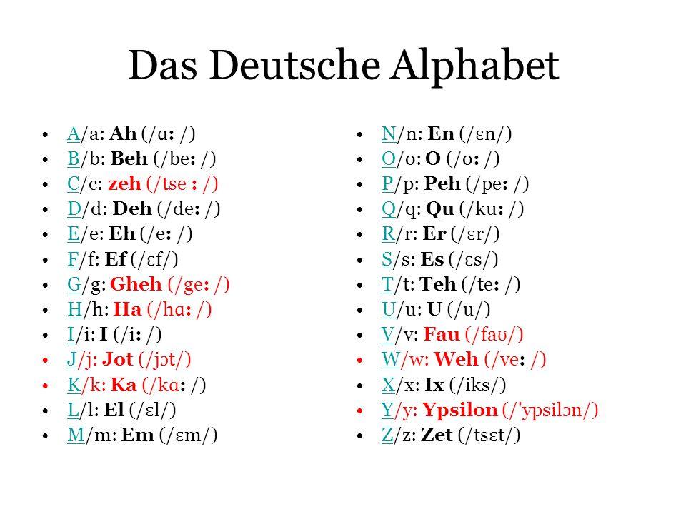 Das Deutsche Alphabet A/a: Ah (/ɑ: /) B/b: Beh (/be: /)
