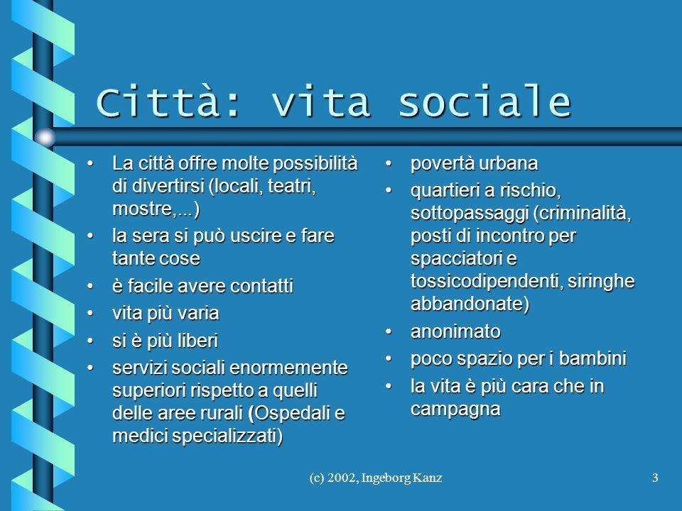 Città: vita sociale La città offre molte possibilità di divertirsi (locali, teatri, mostre,...) la sera si può uscire e fare tante cose.
