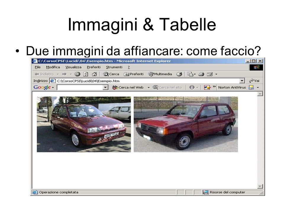 Immagini & Tabelle Due immagini da affiancare: come faccio