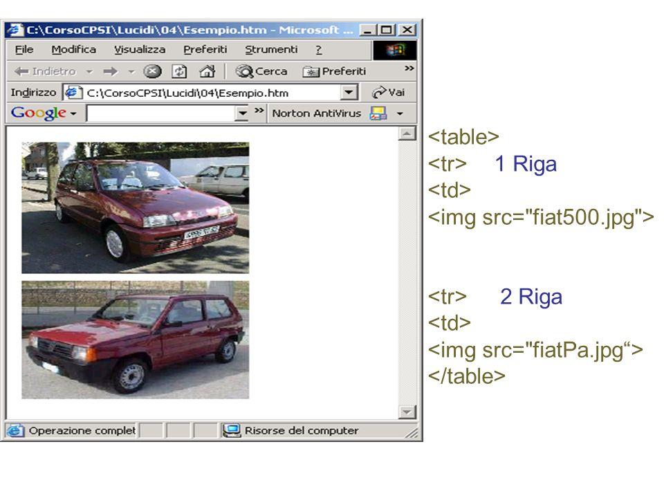 <table> <tr> 1 Riga <td> <img src= fiat500.jpg > <tr> 2 Riga <img src= fiatPa.jpg > </table>