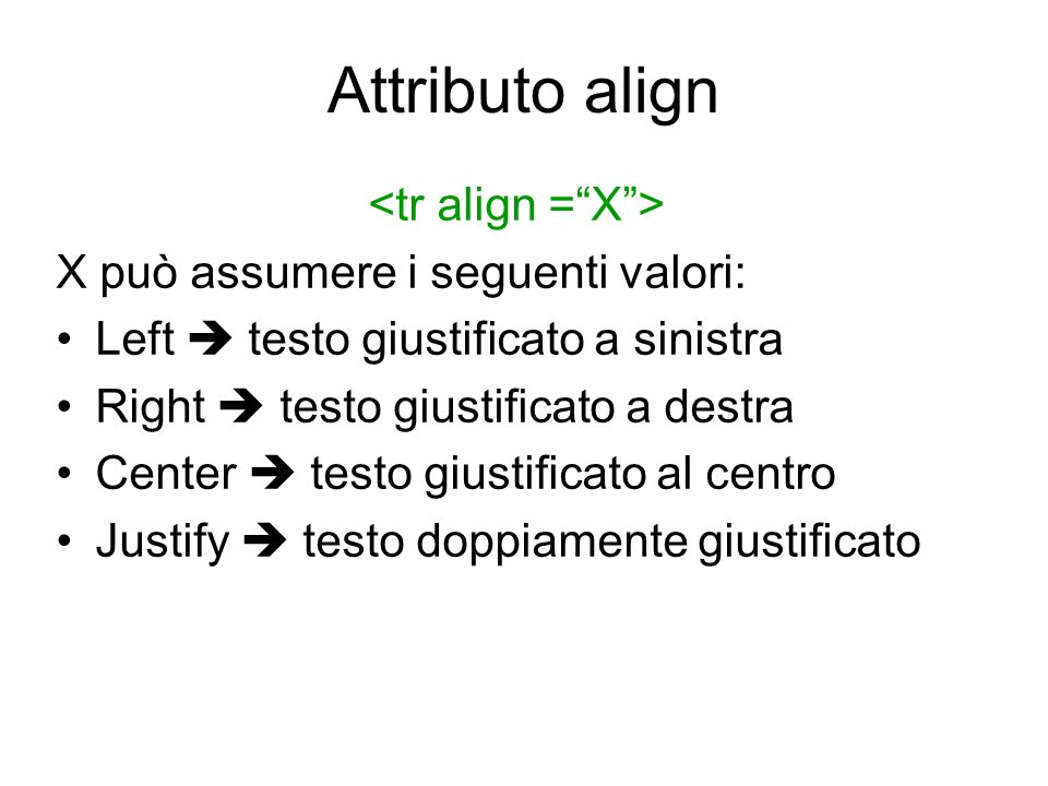 Attributo align <tr align = X >