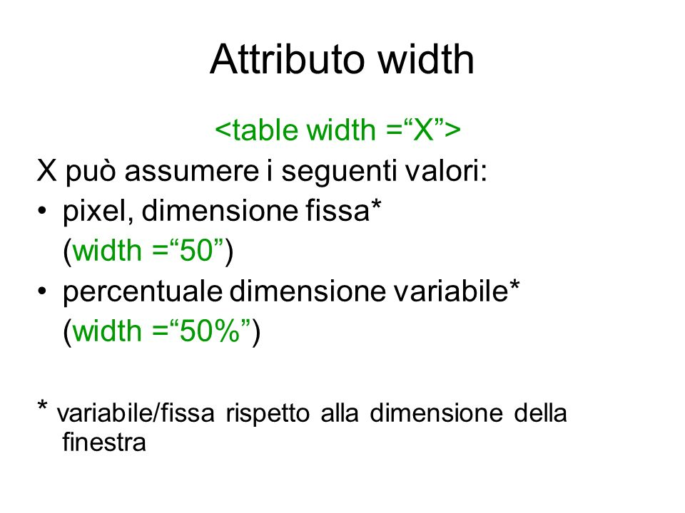<table width = X >