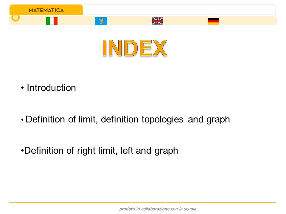 INDEX Introduction Definition of right limit, left and graph