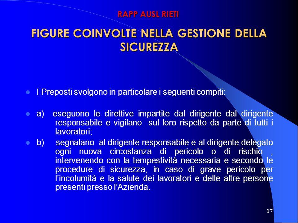 FIGURE COINVOLTE NELLA GESTIONE DELLA SICUREZZA